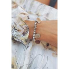 Ethnic Silver Beaded Coin Bracelet